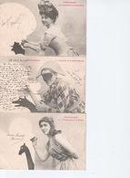 Lot 5 Cartes Ombromanie Pierrot Polichinelle Arlequin Pioupiou - Silhouettes