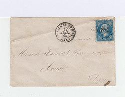 Sur Enveloppe Type Napoléon III 20 C. Bleu Oblitéré Losange Gros Chiffres. CAD St Vallier Sur Rhône 1863. (914) - Marcophilie (Lettres)
