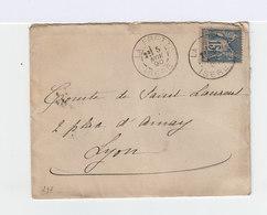 Sur Enveloppe Type Sage 15 C. Bleu Oblitéré Cachet A La Frette 1890. CAD Lyon. (920) - Marcophilie (Lettres)