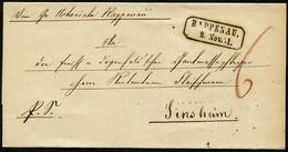 BADEN 1851, VORPHILABRIEF R2 RAPPENAU NACH SINSHEIM, ROTER TAX, TOPP! - Allemagne