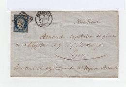 Sur Pli Avec Correspondance Type Céres 25 C. Bleu Oblitéré Grille. CAD Moyen 1851 Grenoble. (921) - Marcophilie (Lettres)