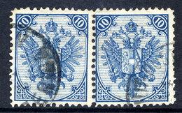BOSNIA & HERZEGOVINA 1879 Arms 10 H. Perforated 12:12½ Used Pair.  Michel 5 I, SG 50 - Bosnia And Herzegovina