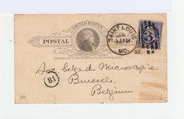 Sur Carte Postal Mail Préimprimé Timbre Oblitéré 3 Et CAD Saint Louis MO. 1892. (923) - Marcophilie