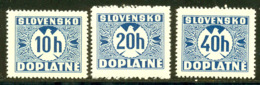 Slovaquie Taxe 1939 Yvert 2 - 3 -  5 ** TB Bord De Feuille - Neufs