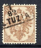 BOSNIA & HERZEGOVINA 1879 Arms 15 H. Type I Perforated 12  Used.  Michel 6 I/Ia A, SG 13 - Bosnia And Herzegovina