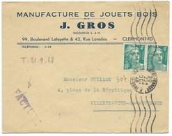 ENVELOPPE MARIANNE DE GANDON / CLERMONT FERRAND 1948 / MANUFACTURE DE JOUETS EN BOIS - Storia Postale