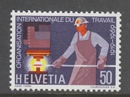 TIMBRE NEUF DE SUISSE - CINQUANTENAIRE DE L'ORGANISATION INTERNATIONALE DU TRAVAIL N° Y&T 840 - ILO