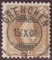 Heimat So Grenchem 1904-10-15 Vollstempel Auf Zu#72E Stehende Helvetia - 1882-1906 Wappen, Stehende Helvetia & UPU
