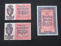 VP LOT 3 BON DE NéCESSITé / NOTGELD (V07) LIECHTENSTEIN ( 2 Vues) 10, 20 Et 50 Heller - Monetary /of Necessity