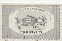 SPA : En-tête De Facture Illustrée (litho.) De L'Hôtel De Flandre à Pierre SURY. (TTB) - Belgio