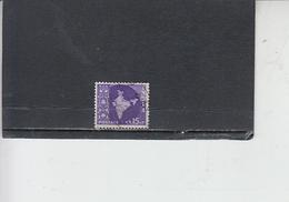 INDIA 1957-58 - Yvert 78° -  Serie Corrente - 1950-59 Repubblica