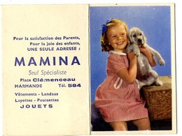 MAMINA  MARMANDE PLACE CLEMENCEAU  -  JOUETS VETEMENTS ETC ...   2 PETITS CALENDRIERS DOUBLE VOLETS  ANNEE 1951 - Calendriers