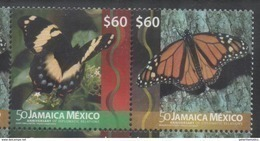 JAMAICA, 2016, MNH, JOINT ISSUE WITH MEXICO, BUTTERFLIES, DIPLOMATIC RELATIONS, 2v - Butterflies