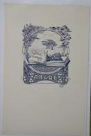 Ex-libris Illustré Belgique XXème - ABCDE Livre à L'escargot - Sigle ABCDE Gaufré Dans Le Papier - Ex-libris