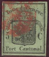 Schweiz 1846 Genf Zu#6 Grosser Adler Attest ( Leicht Hell, Linker Rand Verstärkt)Mängel - 1843-1852 Timbres Cantonaux Et  Fédéraux