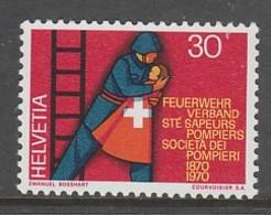 TIMBRE NEUF DE SUISSE - CENTENAIRE DE LA SOCIETE DES SAPEURS-POMPIERS N° Y&T 852 - Sapeurs-Pompiers