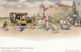 'Honeymoon In 1840' German Or Austrian Artist Image, Horse Theme C1910s/40s Vintage Postcard - Noces