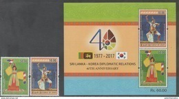 SRI  LANKA, 2017, MNH, 40TH ANNIVERSARY OF DIPLOMATIC RELATIONS WITH SOUTH KOREA, COSTUMES, DANCES,2v+S/SHEET - Costumes