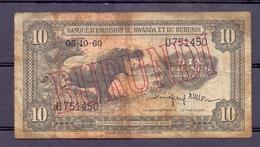 Burundi 10 Fr Overprint On Rwanda-burundi  1960  Rare - Autres - Afrique