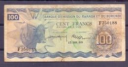 Rwanda-burundi  1960  Rare 100 Fr - Billets