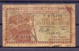Burundi 5 Fr 1965  VG - Autres - Afrique