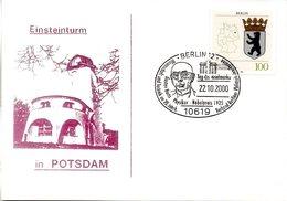 "(BT-3) BRD Sonder-Karte ""Einsteinturm In Potsdam"" EF Mi 1588 SST 22.10.2000 BERLIN 12 - BRD"