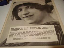 ANCIENNE PUBLICITE SAVON CADUM  MLLE DANJOU DES BOUFFES PARISIENS  1913 - Other