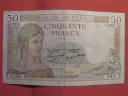Billet FRANCE 50 Francs Cérès 1936 - 1871-1952 Circulated During XXth