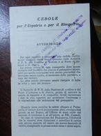 18065) CEDOLE ESPATRIO RIMPATRIO QUESTURA DI GENOVA 1933 FORO DI GRAFFETTA NELLA PRIMA PAGINA RESTO OTTIMO STATO - Religion