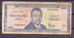 Burundi 100 Fr 1964 - Autres - Afrique