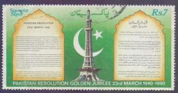 PAKISTAN 1990 - Resolution Golden Jubilee 23rd March 1940-1990, National Anthem Souvenir Sheet, 1v. Fine Used - Pakistan