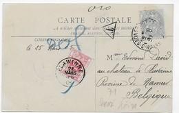 Cpa Taxée De 1905 Du Chateau De Brancion (Tournus) Pour La Belgique - Lettres Taxées