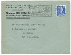 ENVELOPPE MARIANNE DE MULLER / 1958 / CAPDENAC AVEYRON / NOIX CERNEAUX CHAMPIGNONS SECS - Storia Postale