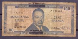 Burundi 100 Fr 1966  Rare Overprint  Republique On Royeaume - Billets