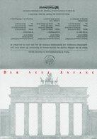 """(BT-3)Amtl. 4-seit. A5-Gedenkblatt """"DER NEUE ANFANG"""" Mi. 1477/78 Und Block 22 Jeweils ESSt Berlin 3.10.1990 U. 6.11.1990 - BRD"""