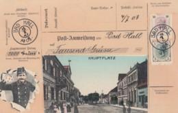Hauptplatz Bad Hall Austria View, Austrian Mail Service Theme, Postman, Facsimile Stamps Image, C1900s Vintage Postcard - Postal Services