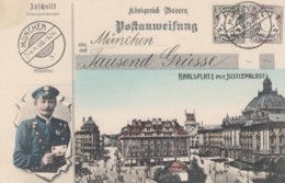 Karlsplatz Munich Muenchen View, German Mail Service Theme, Postman, Facsimile Stamps Image, C1900s Vintage Postcard - Postal Services