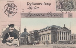 Opernhaus Unter Den Linden Berlin View, Mail Service Theme, Postman, Facsimile Stamps Image, C1900s Vintage Postcard - Postal Services