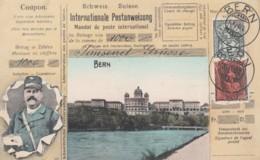 Bern Switzerland View, Swiss Mail Service Theme, Postman, Facsimile Stamps Image, C1900s Vintage Postcard - Postal Services