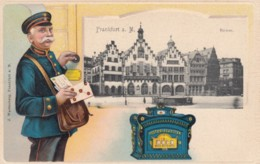 Frankfurt A. Main Germany View, German Mail Service Theme, Postman, C1900s Vintage Postcard - Postal Services