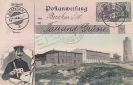 Brocken Germany View, German Mail Service Theme, Postman, Facsimile Stamps Image, C1900s Vintage Postcard - Postal Services