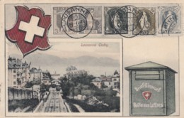 Lausanne Ouchy Switzerland View, Swiss Mail Service Theme, Postman, Facsimile Stamps Image, C1910s Vintage Postcard - Postal Services