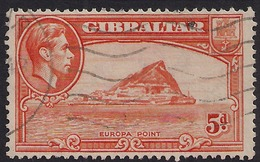 Gibraltar 1938 - 51 KGV1 5d Red Orange Europa Point SG 125c ( L1360 ) - Gibraltar