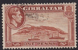 Gibraltar 1938 - 51 KGV1 1d Yellow Brown Sideway Wmk SG 122b ( L1372 ) - Gibraltar