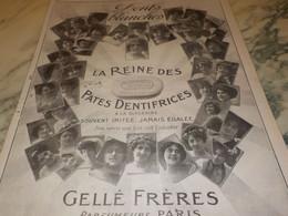 ANCIENNE PUBLICITE REINE DES PATES DENTIFRICES GELLE FRERES 1916 - Other