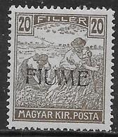 Italia Italy 1918 Fiume Mietitori E Veduta 20f Sa N.10 Nuovo MH * - 8. Ocupación 1ra Guerra