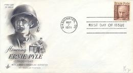 USA 1971 FDC Honoring Ernie Pyle Second World War Frontline Reporter - Seconda Guerra Mondiale