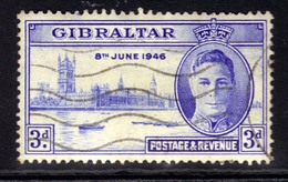 Gibraltar 1946 KGV1 3d Ultramarine Victory SG 133 ( H1314 ) - Gibraltar