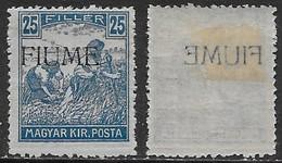 Italia Italy 1918 Fiume Mietitori E Veduta 25f Decalco Sa N.11 Nuovo MH * - 8. Occupazione 1a Guerra