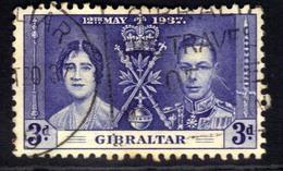 Gibraltar 1937 KGV1 3d Blue Coronation SG 120 ( H1394 ) - Gibraltar